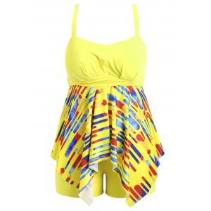 Plus Size Striped Handkerchief Tankini Set