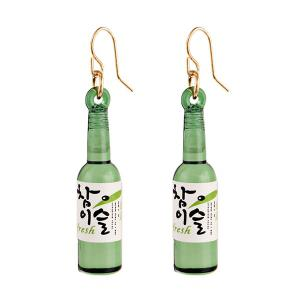 Wine Bottle Pendant Fish Hook Earrings