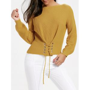 Oversized Boat Neck Lace Up Sweater