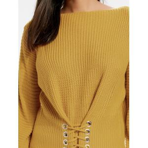 Oversized Boat Neck Lace Up Sweater - EARTHY ONE SIZE