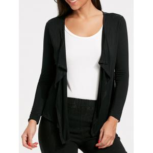 Open Front Draped Cardigan - Black - Xl
