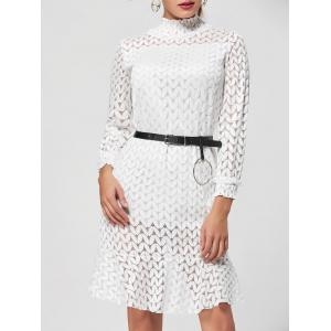 Flounce Stand Collar Lace Shift Dress - White - Xl
