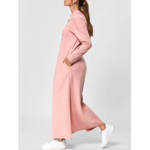 Hooded Drawstring Neck High Slit Maxi Dress - Nude Pink - 2xl