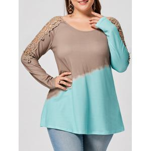 Plus Size Lace Panel Ombre Long Sleeve Top
