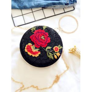 Embroidered Metal Ring Clutch Bag -