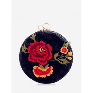 Embroidered Metal Ring Clutch Bag