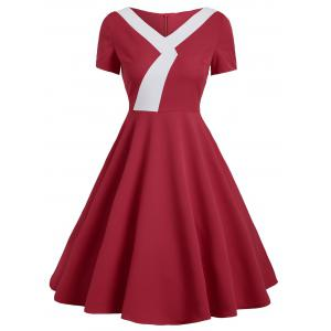 Vintage Fit and Flare Two Tone Dress