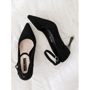 Ankle Strap Pointed Toe Pumps - BLACK 37