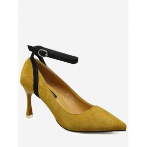 Ankle Strap Pointed Toe Pumps - Ginger - 38