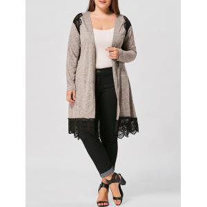Long Sleeve Lace Panel Plus Size Scalloped Cardigan - Colormix - 5xl