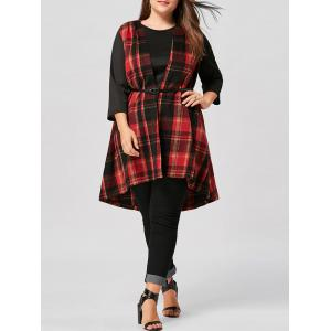 Plus Size Open Front  Asymmetric Plaid Waistcoat