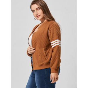 Striped Zip Up Plus Size Jacket - BROWN 3XL