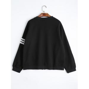 Striped Zip Up Plus Size Jacket - BLACK XL