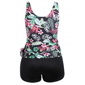 Plus Size Tropical Leaf Floral Print Tankini Set - BLACK 2XL