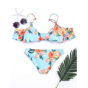Floral Open Shoulder Bikini Swimwear - COLORMIX S