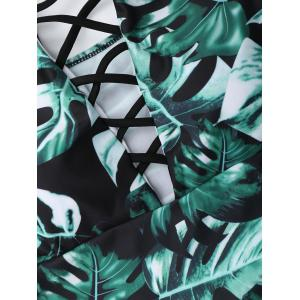 Criss Cross Lace Up Leaf Print Swimsuit - GREEN XL