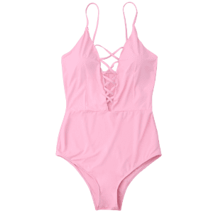 Cross Back One Piece Swimsuit - Rose Clair 2XL