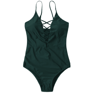 Cross Back One Piece Swimsuit - Vert Foncé XL