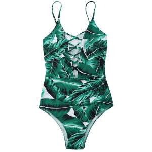 Lace Up Criss Back Leaf Print Swimsuit - GREEN S