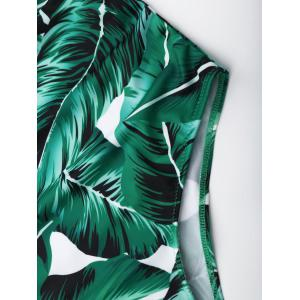 Lace Up Criss Back Leaf Print Swimsuit - GREEN M