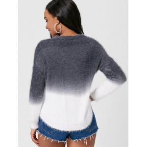 Two Tone Fuzzy Knit Ombre Sweater -
