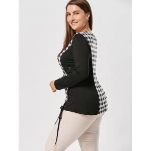 Plus Size Lace Up Long Sleeve Plaid Top -