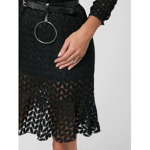 Flounce Stand Collar Sheer Lace Shift Dress -