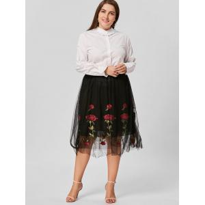 Floral Embroidered Mesh Plus Size Skirt -