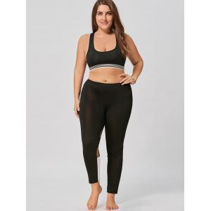Color Block Plus Size Workout Leggings with Mesh -