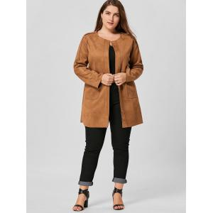 Faux Suede Open Front Plus Size Coat -