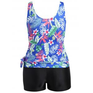 Plus Size Tropical Leaf Floral Print Tankini Set -