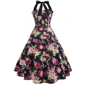 Vintage Halter Floral 50s Swing Dress -