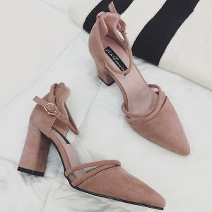 Chunky Heel Ankle Strap Pumps -