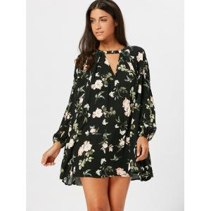 Floral Long Sleeve Tunic Swing Dress -