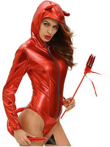 Sale Glitter Hooded Halloween Devil Bodysuit