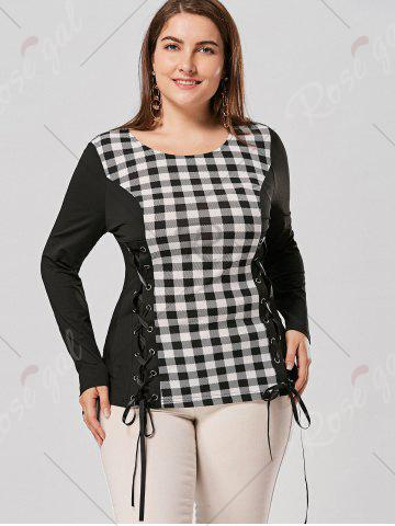 New Plus Size Lace Up Long Sleeve Plaid Top - XL CHECKED Mobile