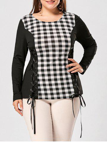 Discount Plus Size Lace Up Long Sleeve Plaid Top