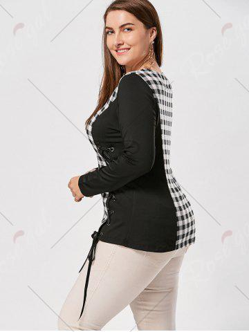 Discount Plus Size Lace Up Long Sleeve Plaid Top - 4XL CHECKED Mobile