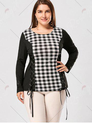 Sale Plus Size Lace Up Long Sleeve Plaid Top - 5XL CHECKED Mobile