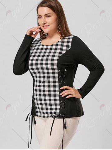 Discount Plus Size Lace Up Long Sleeve Plaid Top - 5XL CHECKED Mobile