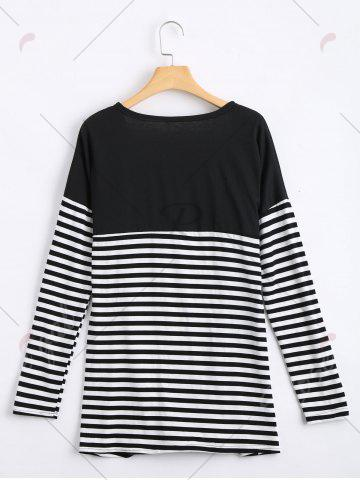 Trendy Long Two Tone Striped Panel Cardigan - M BLACK Mobile