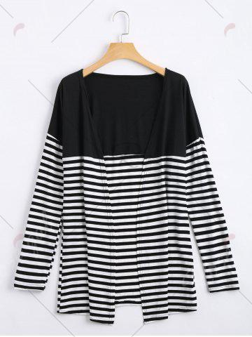 Affordable Long Two Tone Striped Panel Cardigan - XL BLACK Mobile