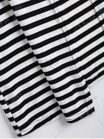 Outfit Long Two Tone Striped Panel Cardigan - XL BLACK Mobile