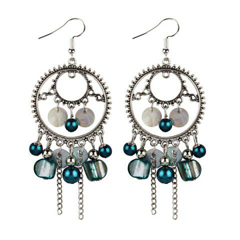 Beaded Dreamcatcher Pendant Fish Hook Earrings - Blue