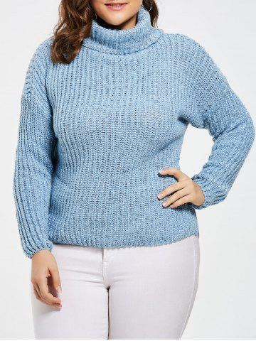 Sky Blue One Size Chunky Knit Plus Size Turtleneck Sweater ...
