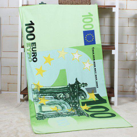 Store 100 Euro Note Pattern Water Absorption Bath Towel GREEN