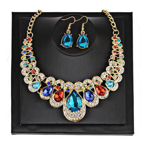 Affordable Teardrop Faux Gem Chunky Necklace Suit COLORMIX