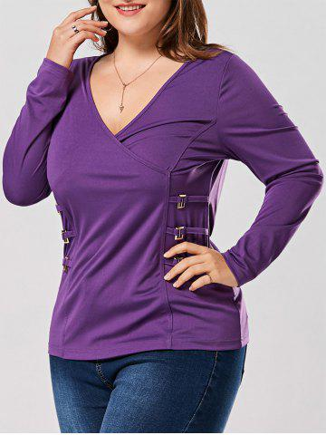 Sale Plus Size Metal Buttons Plunging Neck Surplice Top PURPLE XL