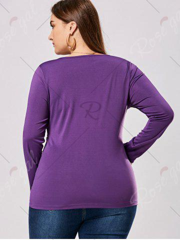 Chic Plus Size Metal Buttons Plunging Neck Surplice Top - 5XL PURPLE Mobile