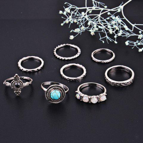 Hot Faux Gem Turquoise Finger Ring Set SILVER